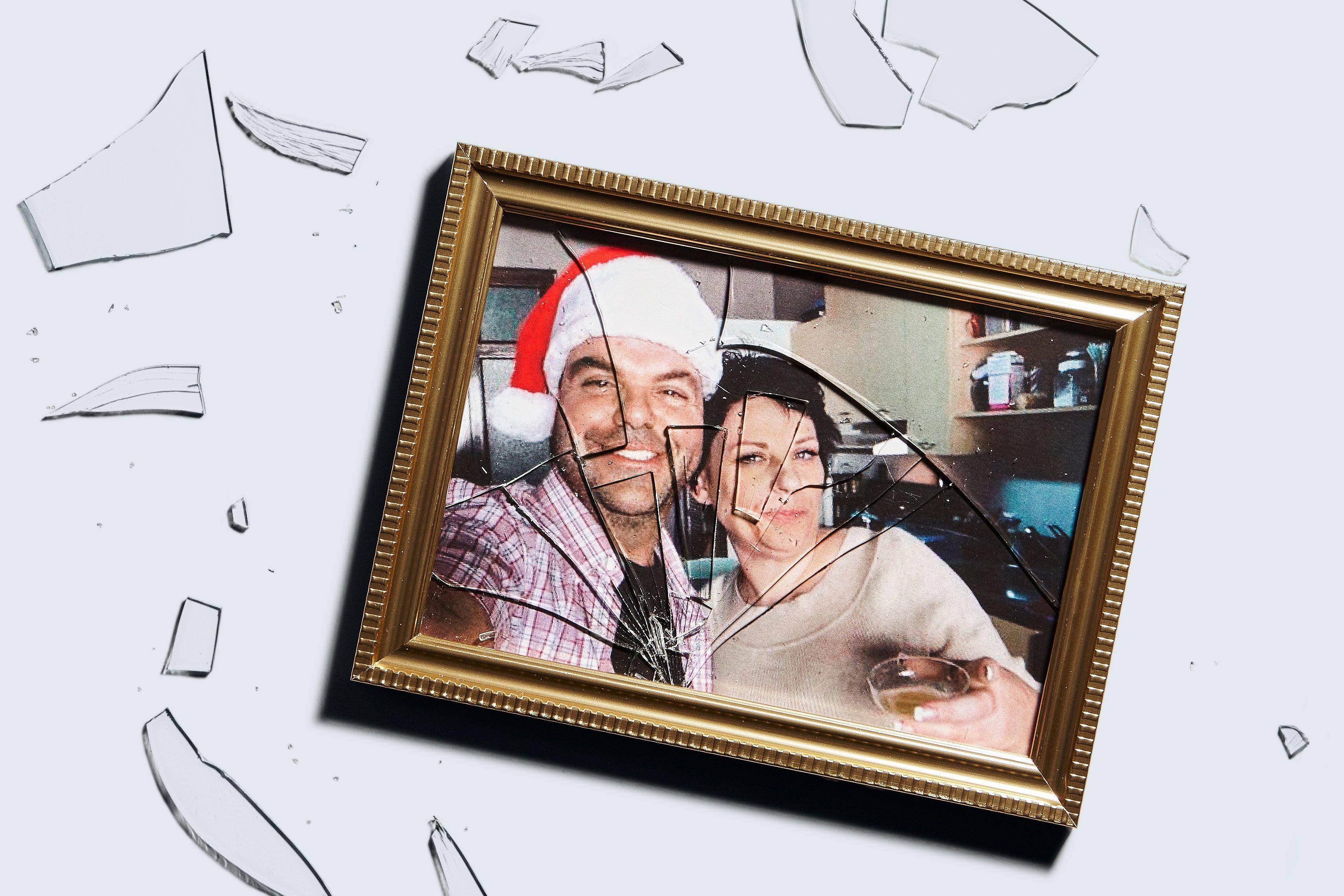 smashed photo frame