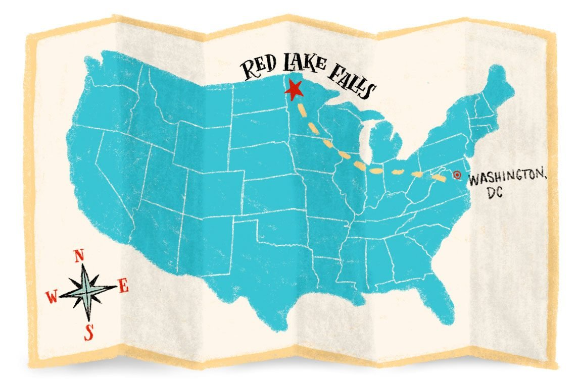 map showing the journey from washington dc to red lake falls minnesota