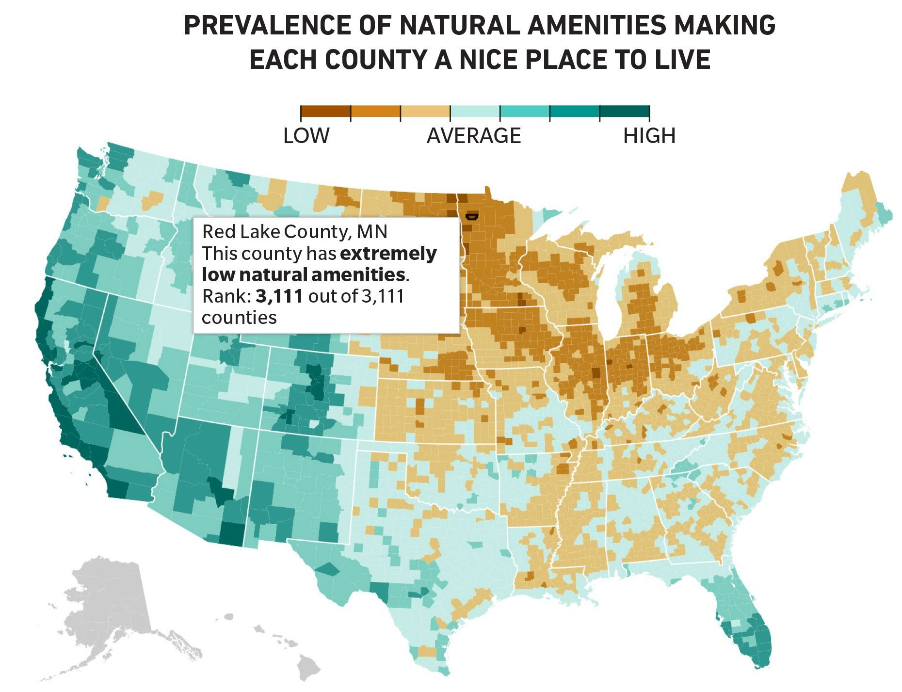 infographic map. prevalence of natural amenities making each county a nice place to live
