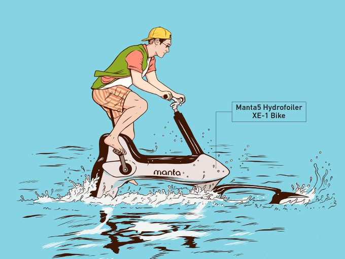 manta5 hydrofoiler xe-1 bike illustration
