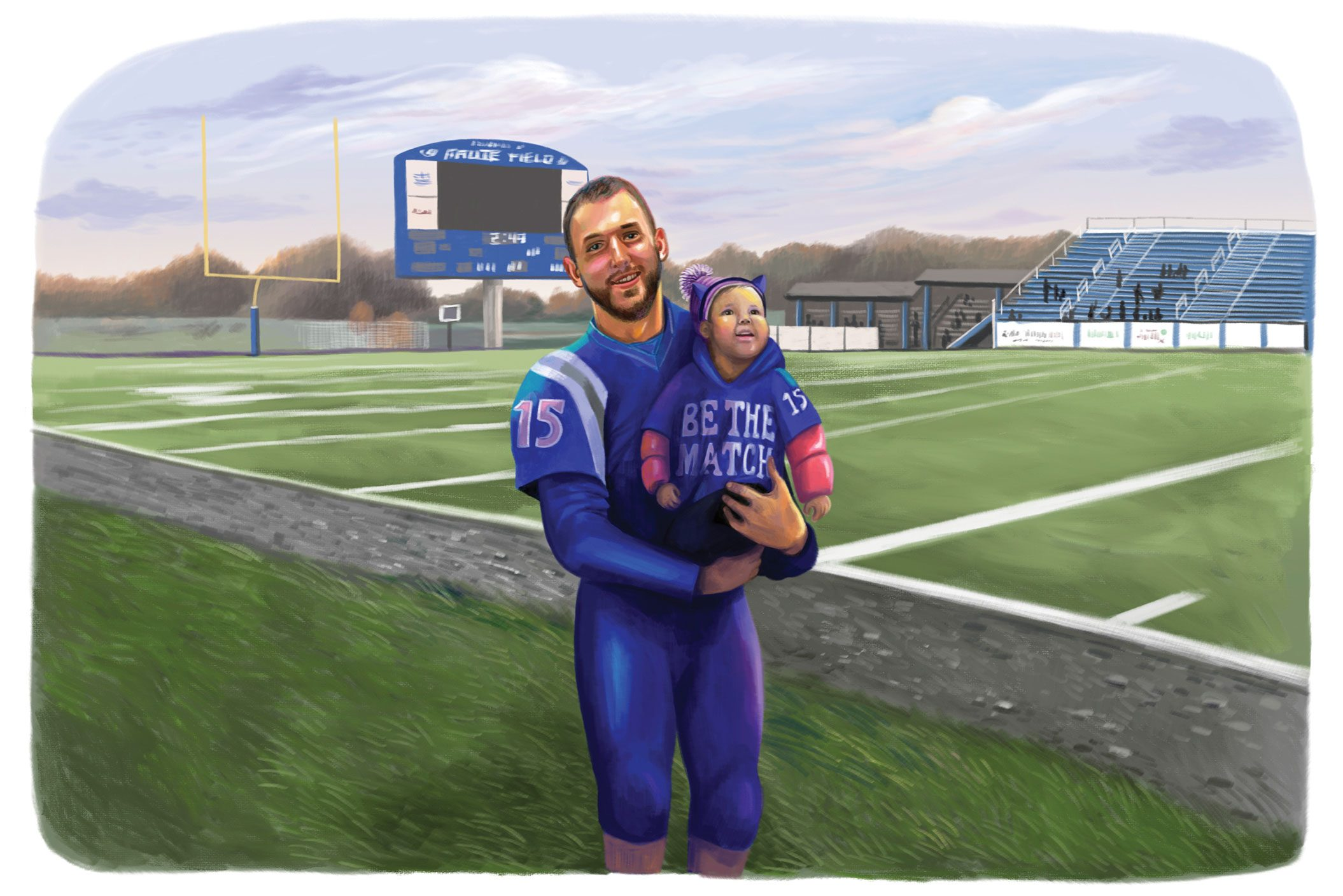 illustration by gel jamlang. football player holding small child. football field in the background