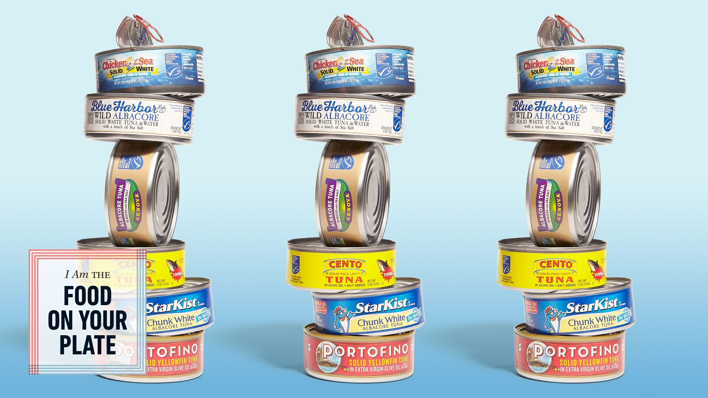 variety of brands of tuna cans stacked. food on your plate.