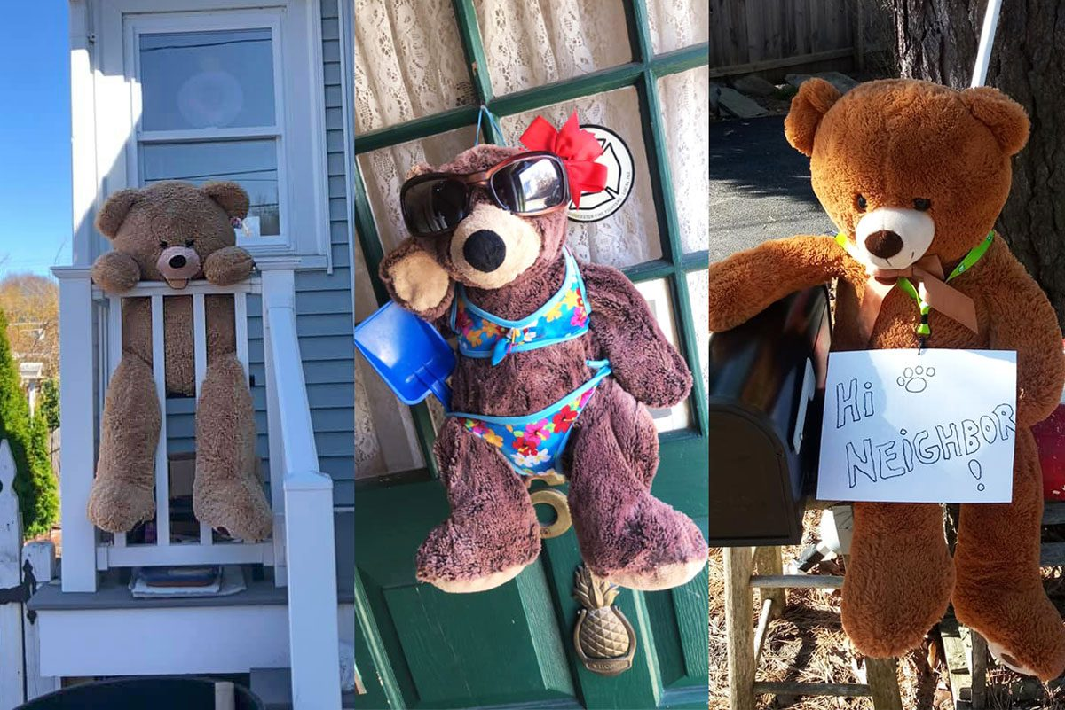 three photos of teddy bears placed around a neighborhood
