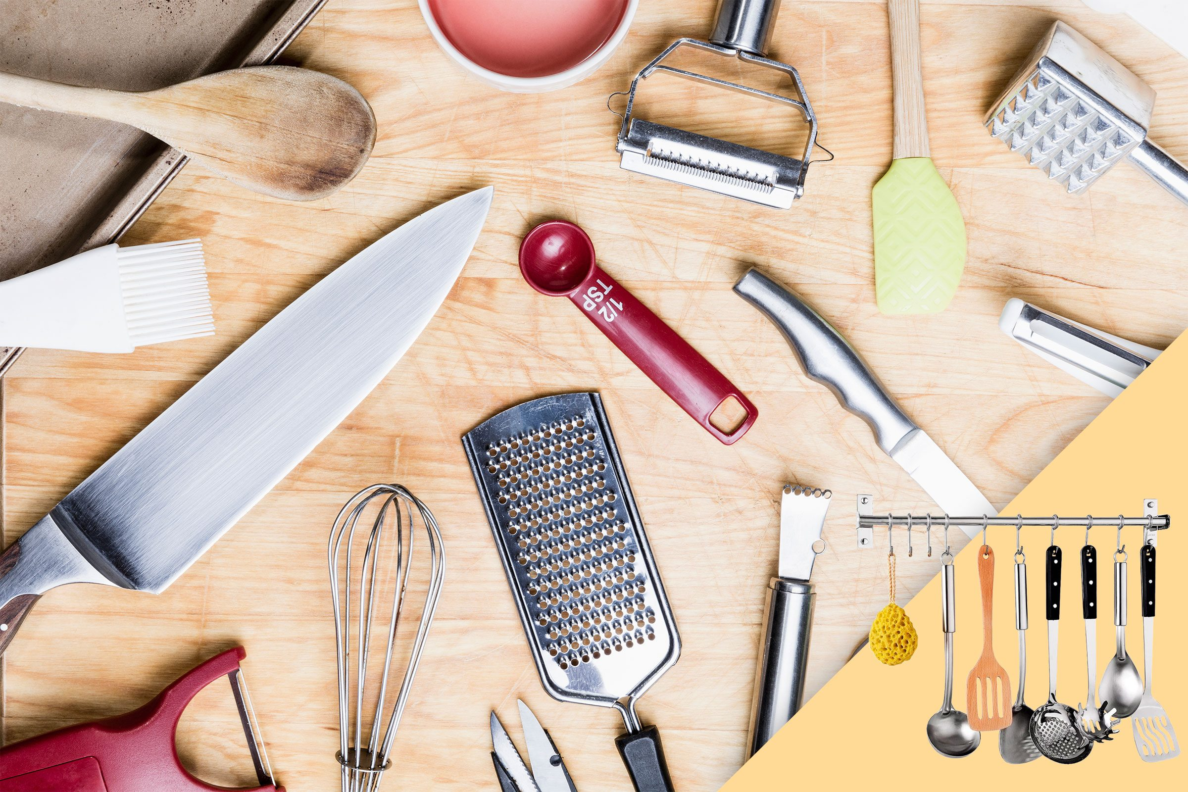 kitchen tools and utensils splayed on wood background; with suggested product