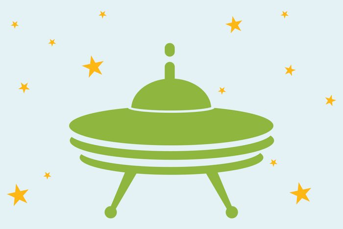 ufo illustration with stars