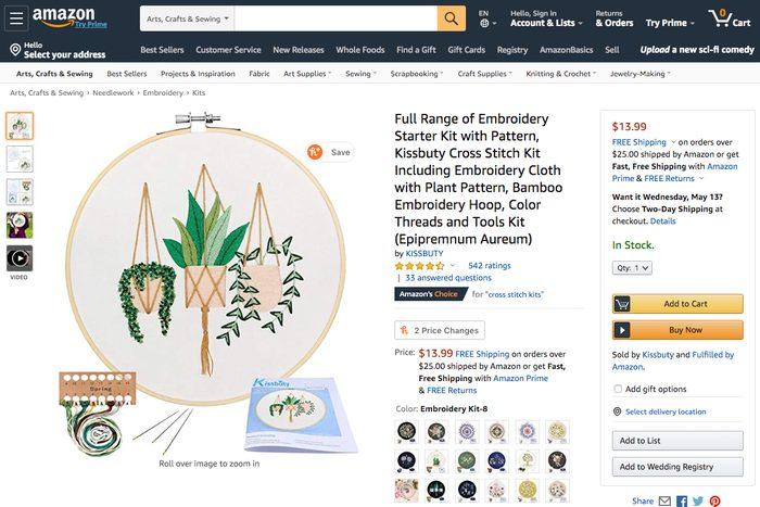 Cross-stitch kit: Amazon delivery