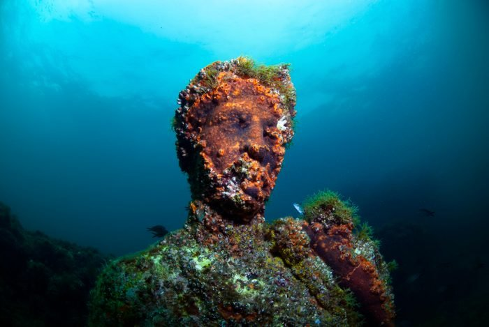 Baiae, Naples, Campania, Southern Italy - May, 2018: Submerged statue head
