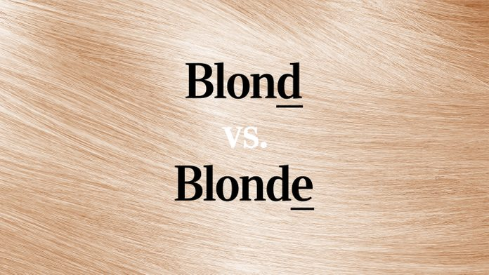 """blond vs blonde"" text over blond hair texture background"
