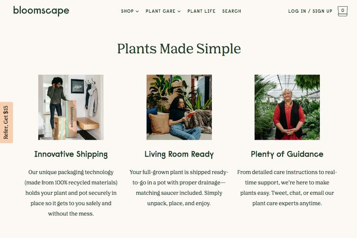 Potted plants: Bloomscape
