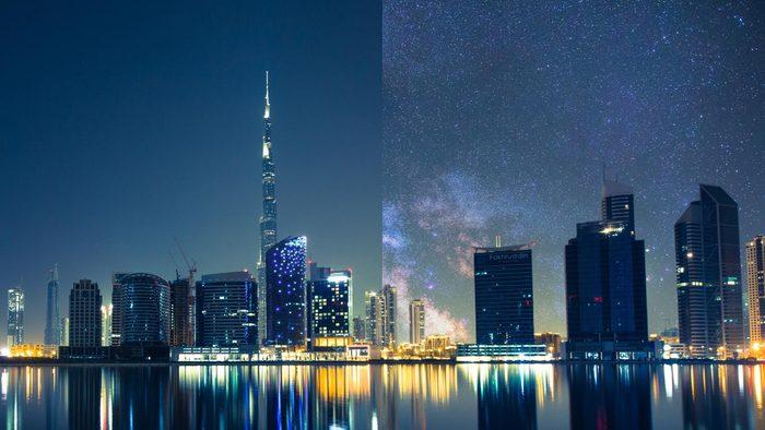 Dubai India light pollution