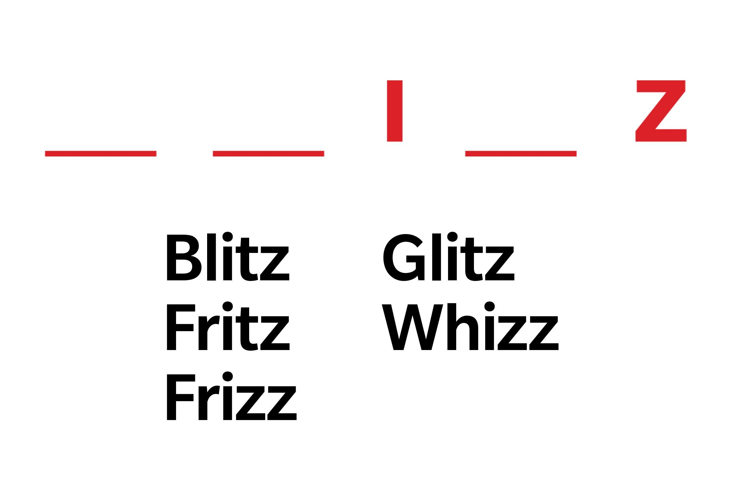 fill in the blank illustration with answers: blitz, fritz, frizz, glitz, whizz