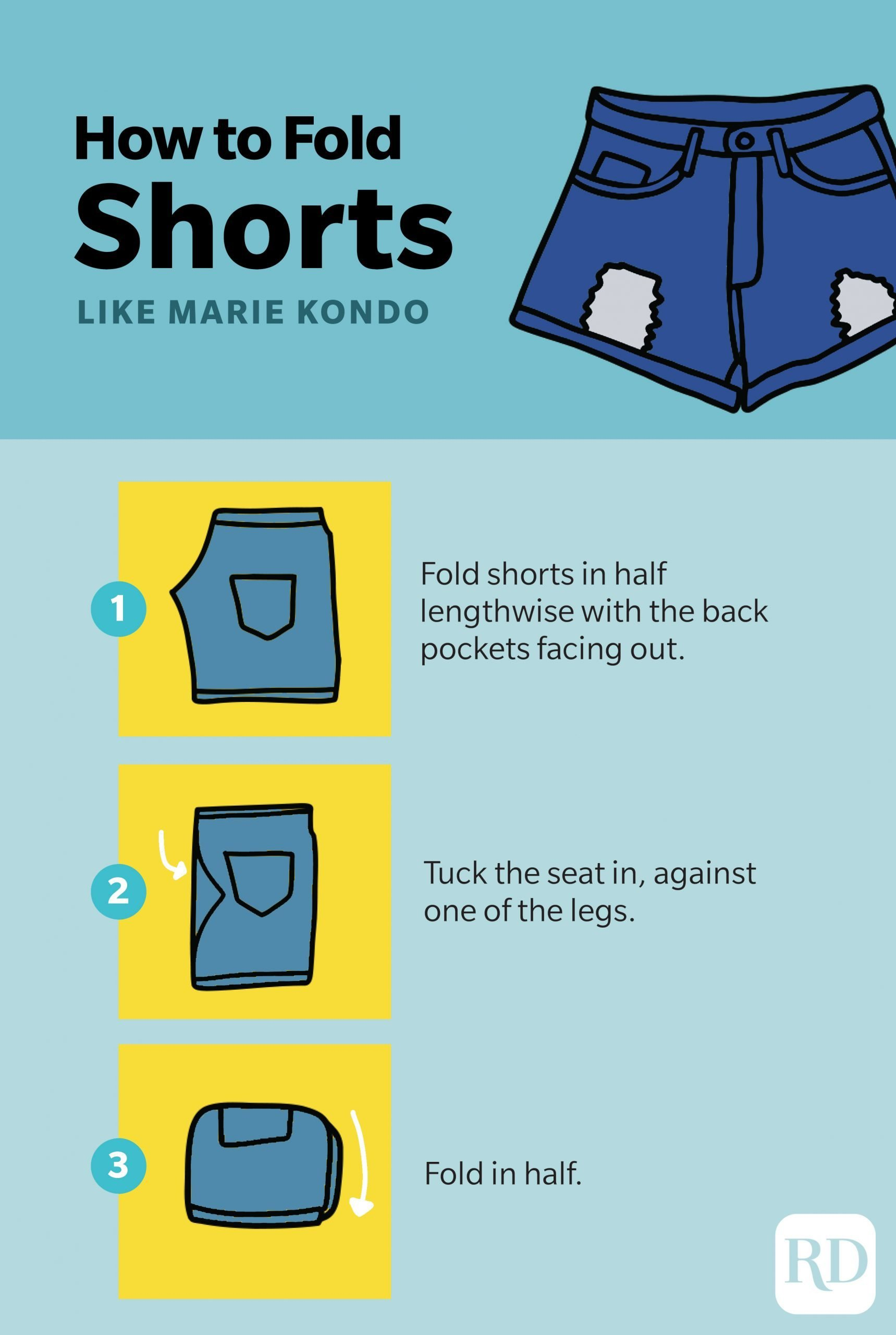 How to fold shorts like Marie Kondo infographic