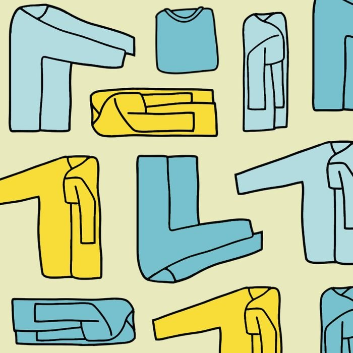 Collaged drawings of folded long sleeve t-shirt with varying colors