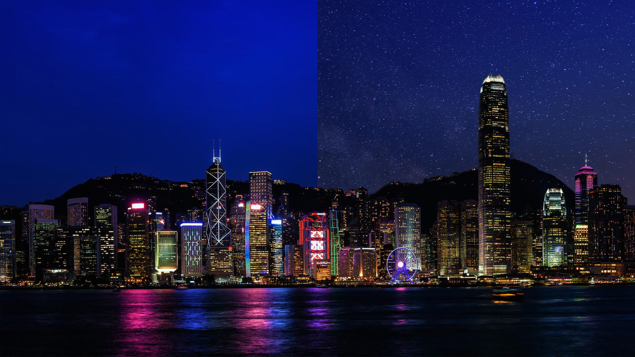 Hong Kong China light pollution city