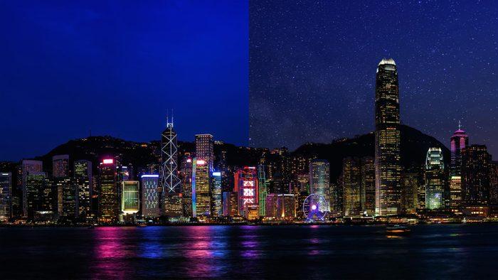 Hong Kong China light pollution city