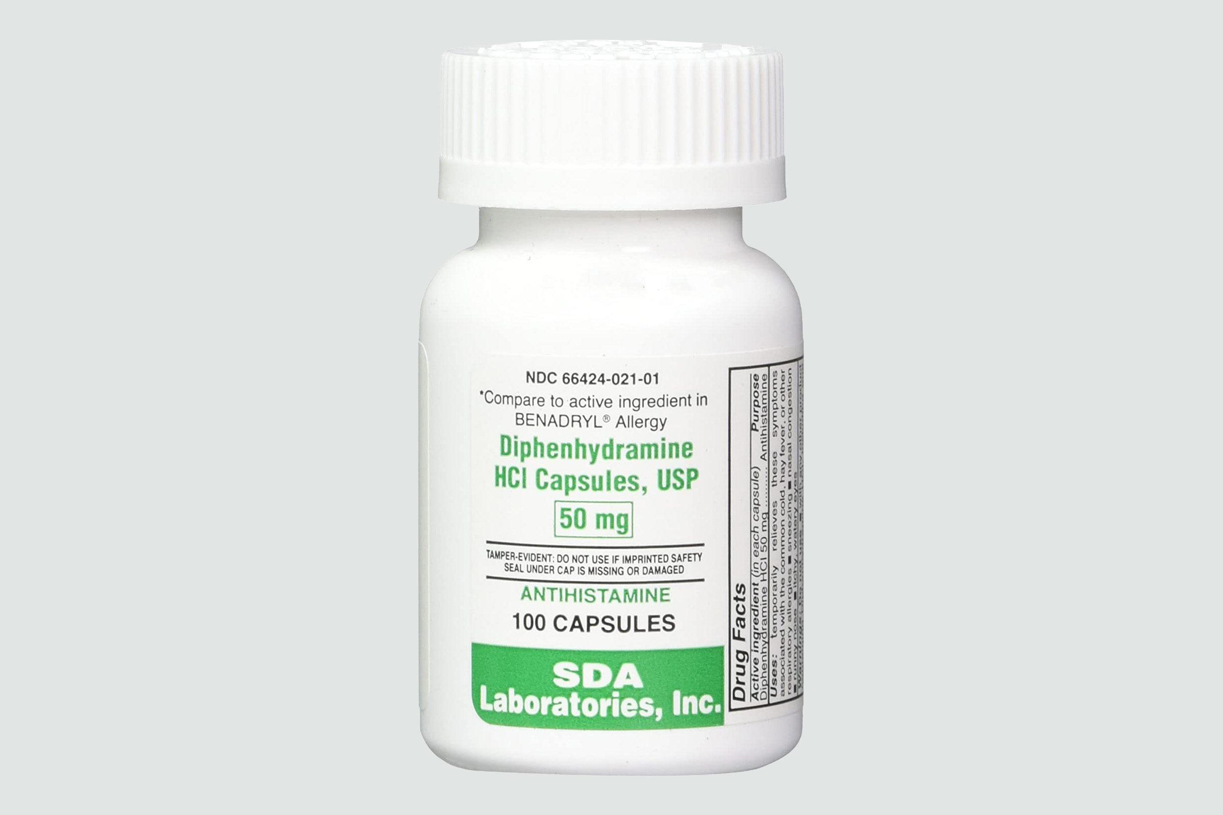 Benadryl (diphenhydramine) pills
