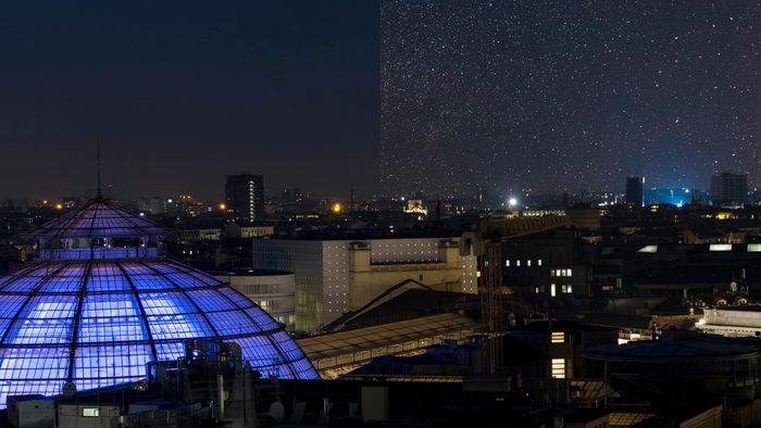Milan Italy city light pollution