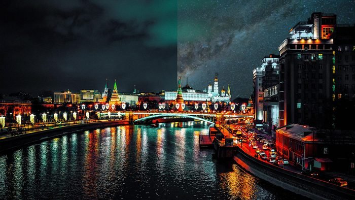 moscow Russia light pollution city