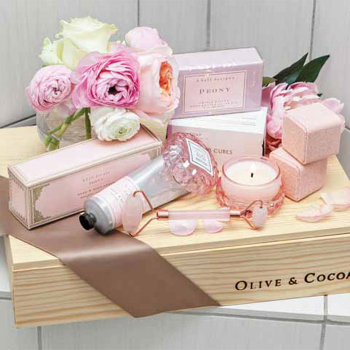 Olive and Cocoa Peony Blush Spa Crate, $178