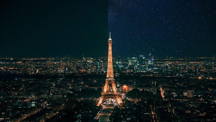 Paris France city light pollution