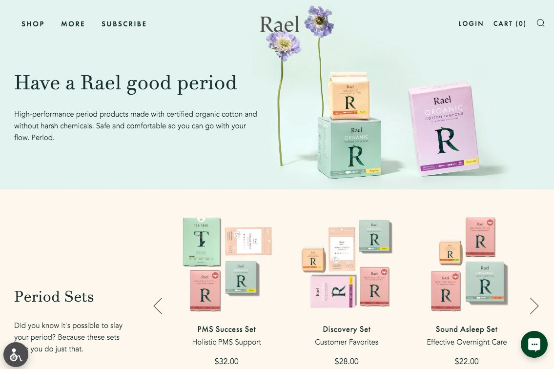 delivery Eco-friendly feminine hygiene: Rael