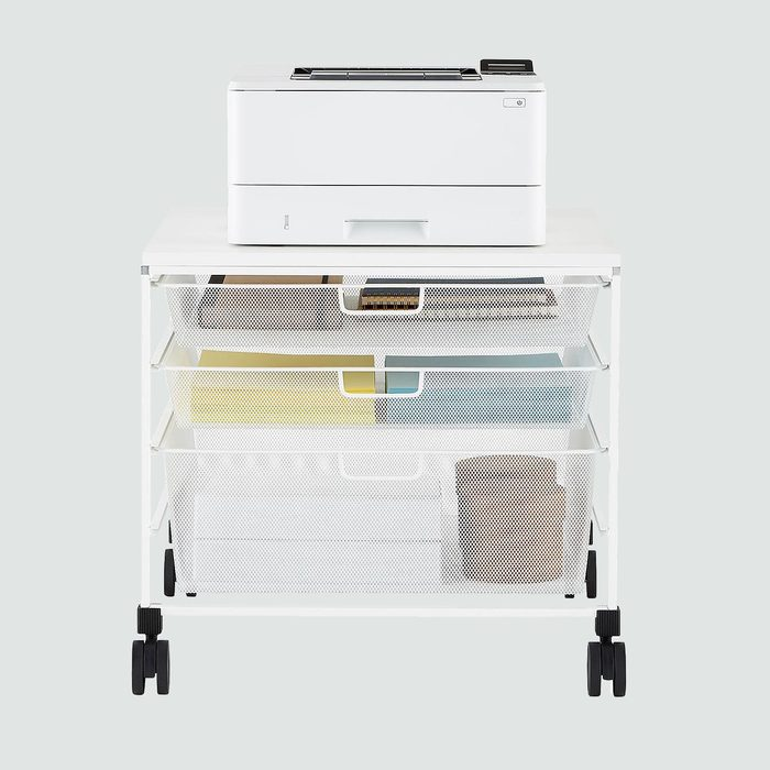 The Container Store White Elfa Mesh Rolling Cart