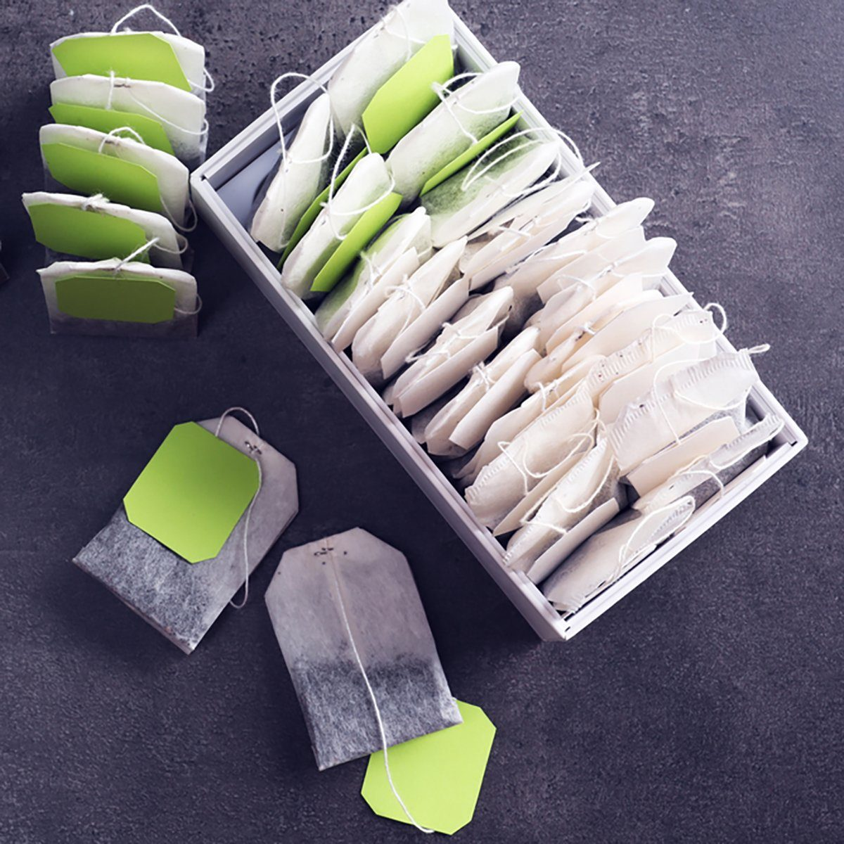Tea bags in box