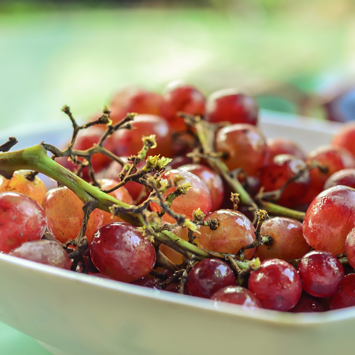 Red grapes on a plate
