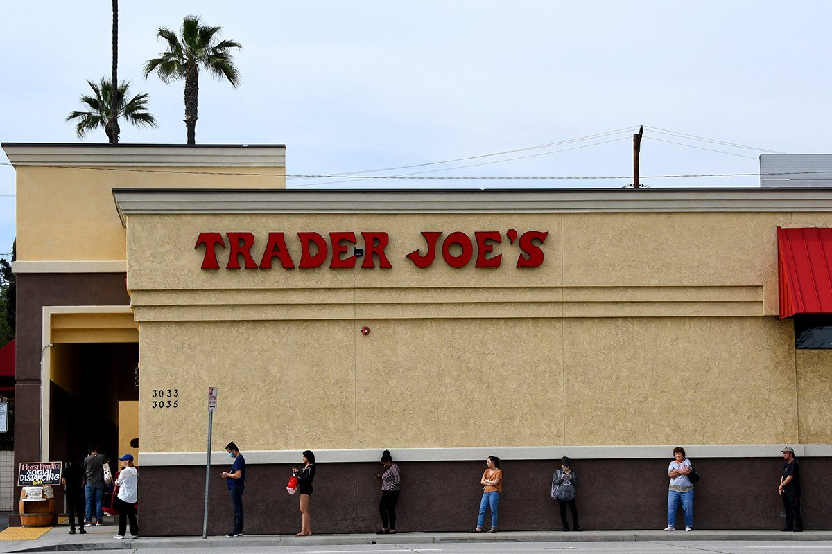 PASADENA, CA - MARCH 31: Customers practice social distancing due to the Coronavirus Pandemic as they wait in line outside Trader Joe's in Pasadena on Tuesday, March 31, 2020. (Photo by Keith Birmingham/MediaNews Group/Pasadena Star-News via Getty Images)