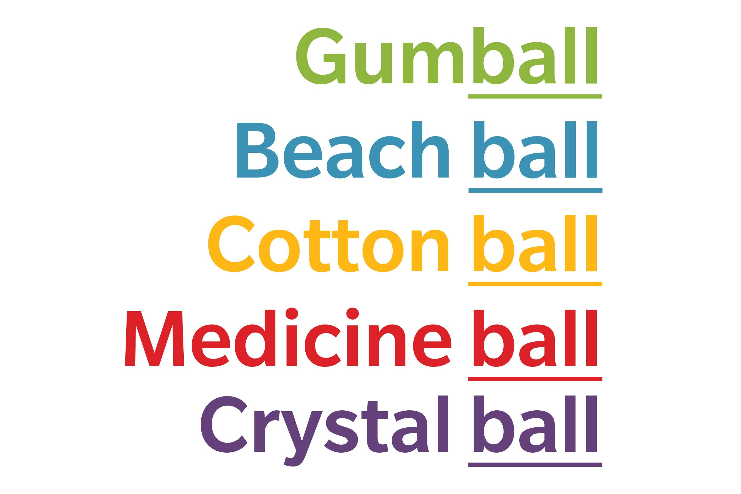 text: gumball, beach ball, cotton ball, medicine ball, crystal ball