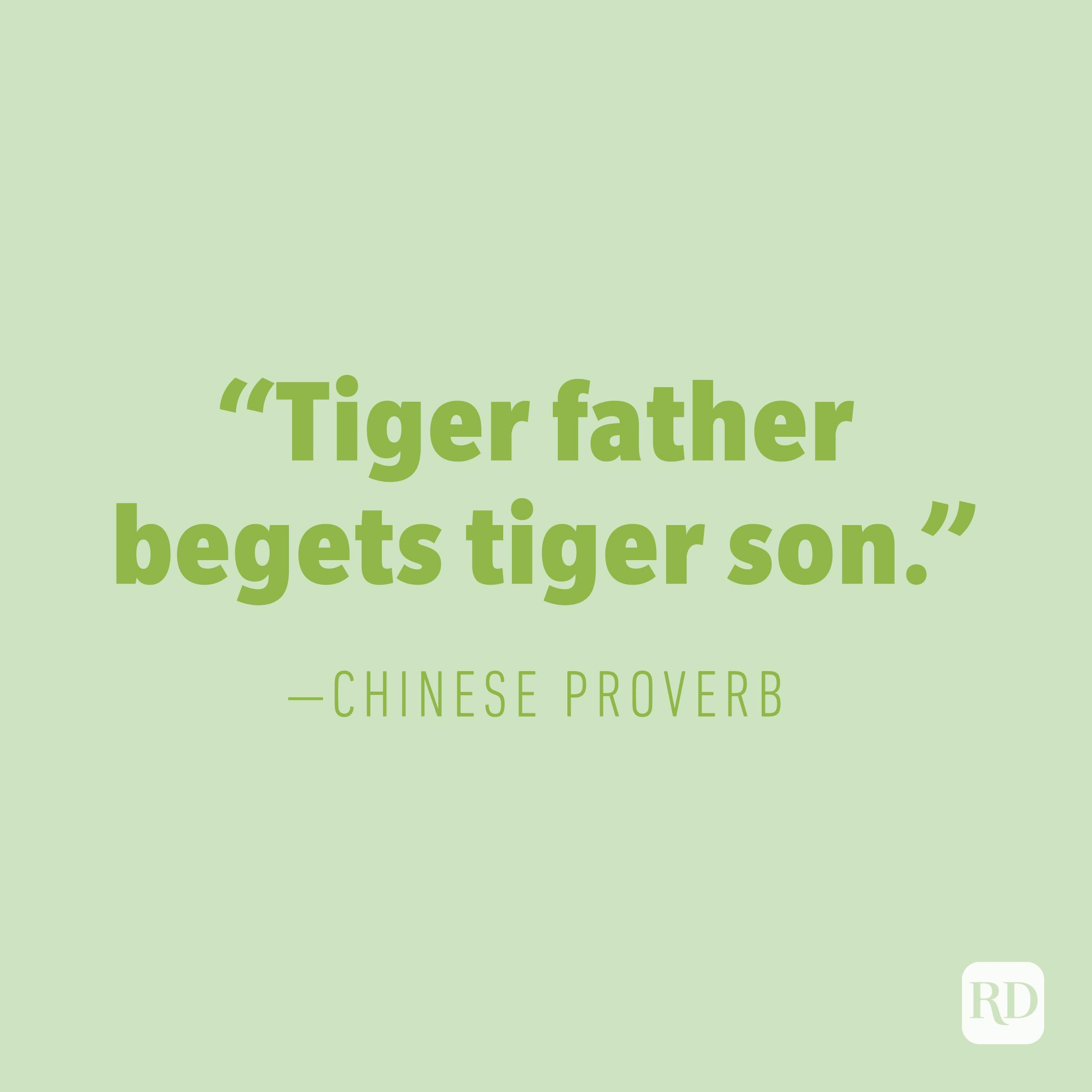 """Tiger father begets tiger son.""  —CHINESE PROVERB"