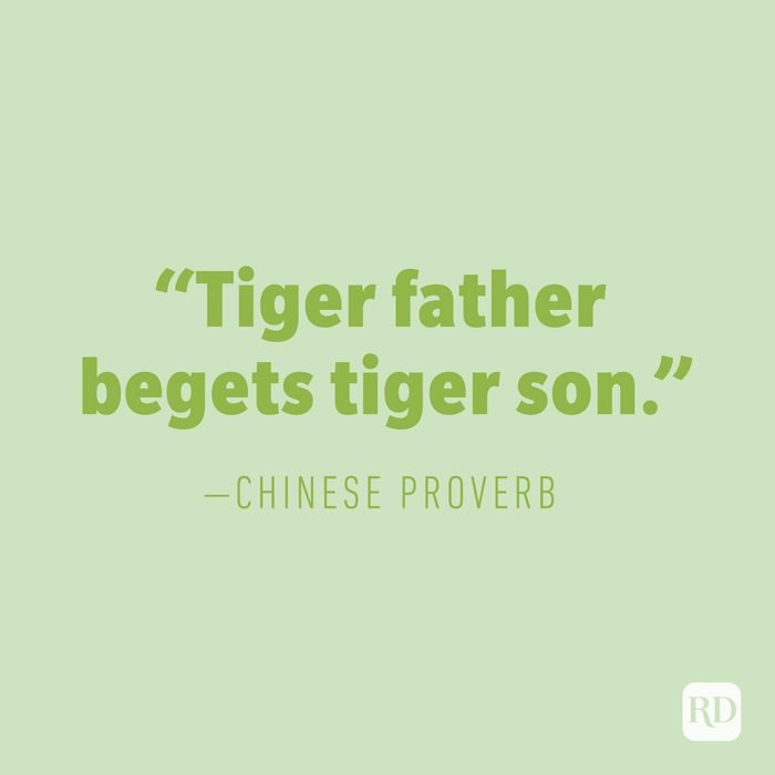 """""""Tiger father begets tiger son."""" —CHINESE PROVERB"""