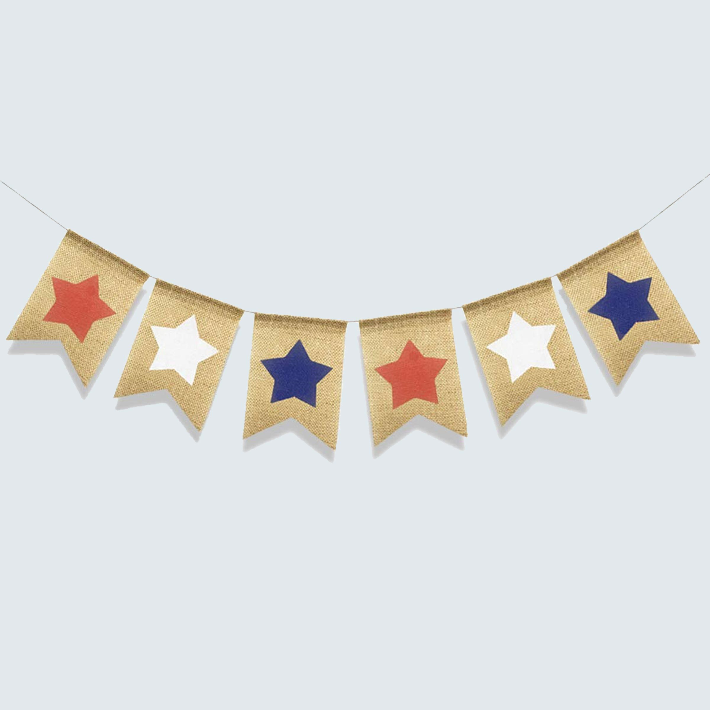 Red, white, and blue stars burlap banner