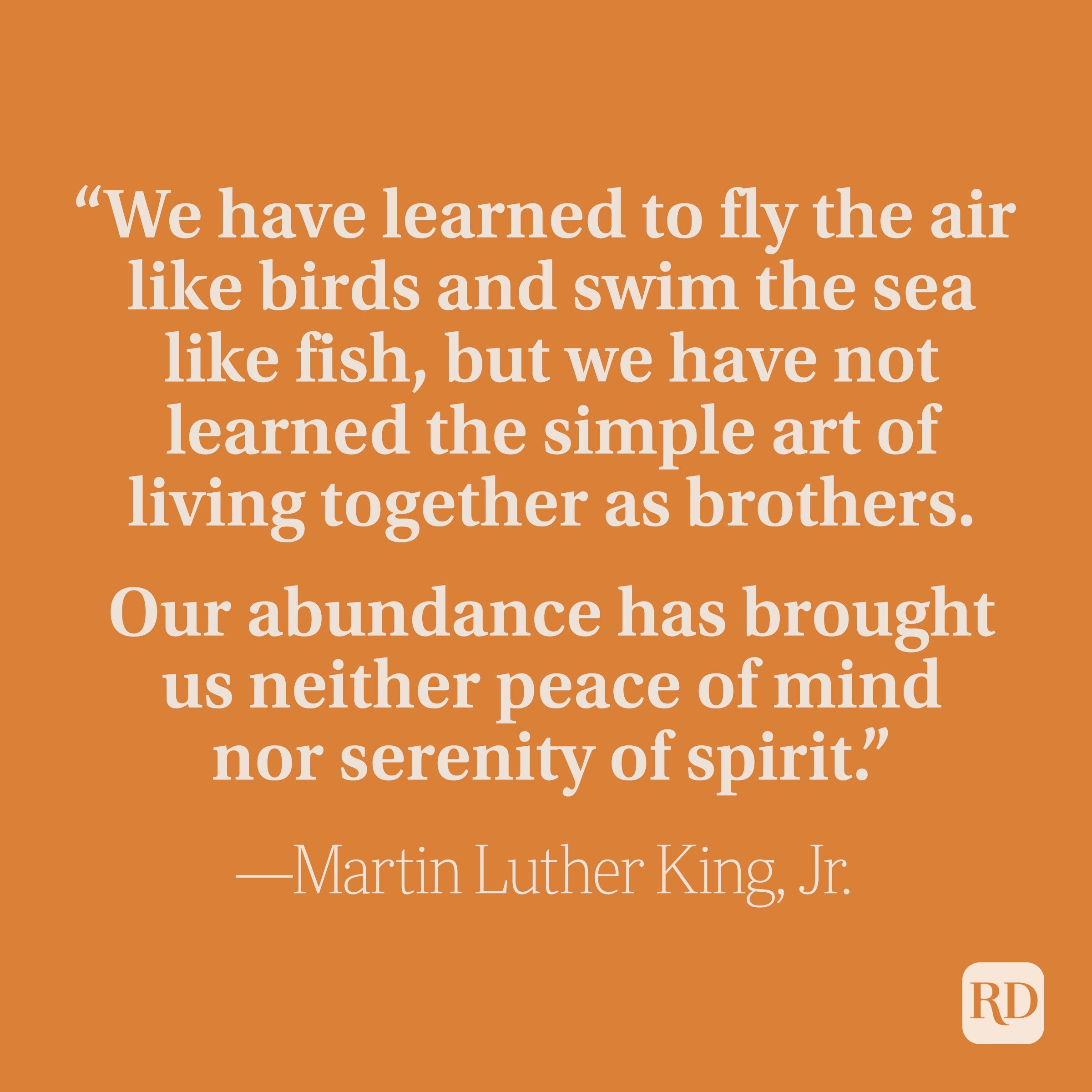 """""""We have learned to fly the air like birds and swim the sea like fish, but we have not learned the simple art of living together as brothers. Our abundance has brought us neither peace of mind nor serenity of spirit."""" —Martin Luther King, Jr."""