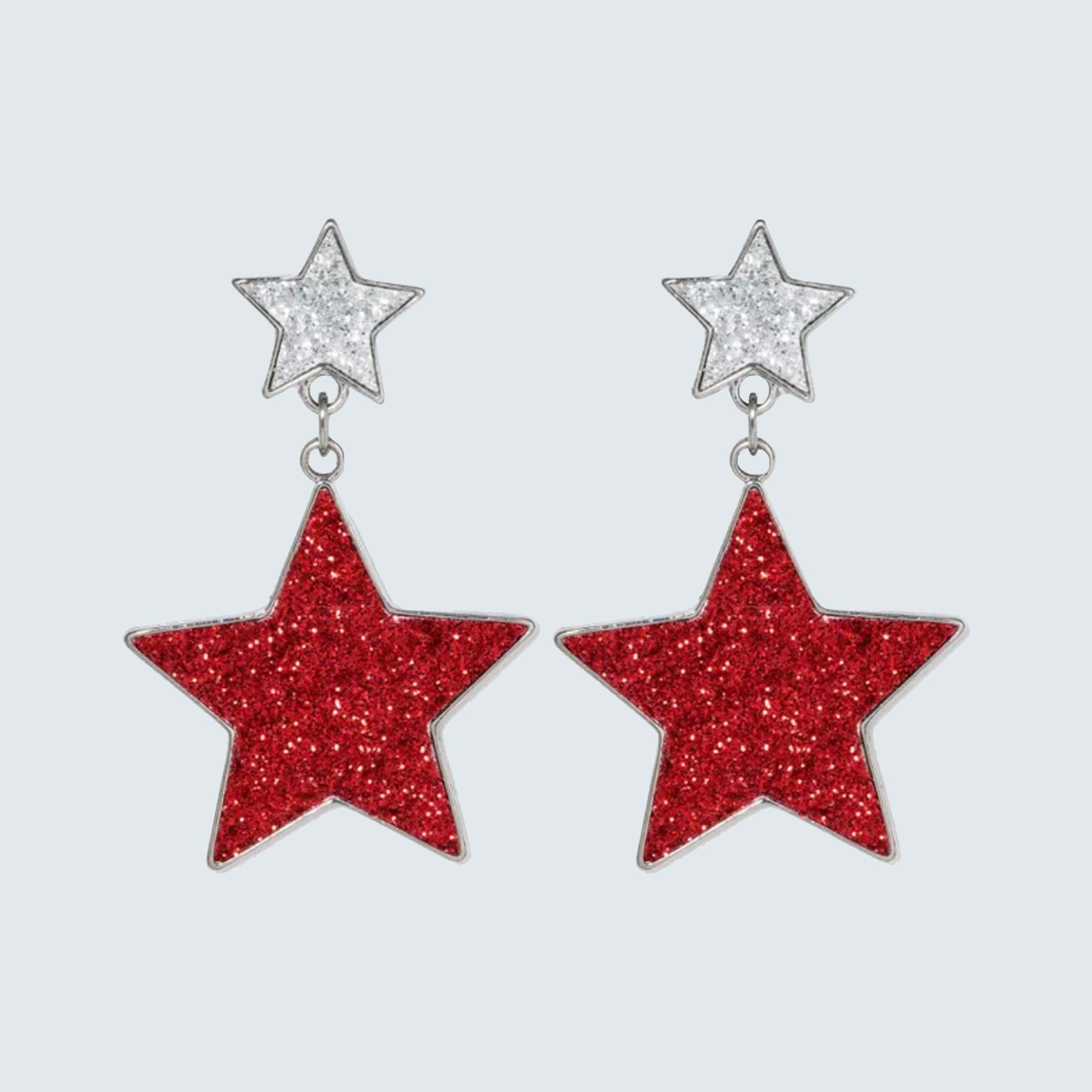 Glitter Star Drop Earrings