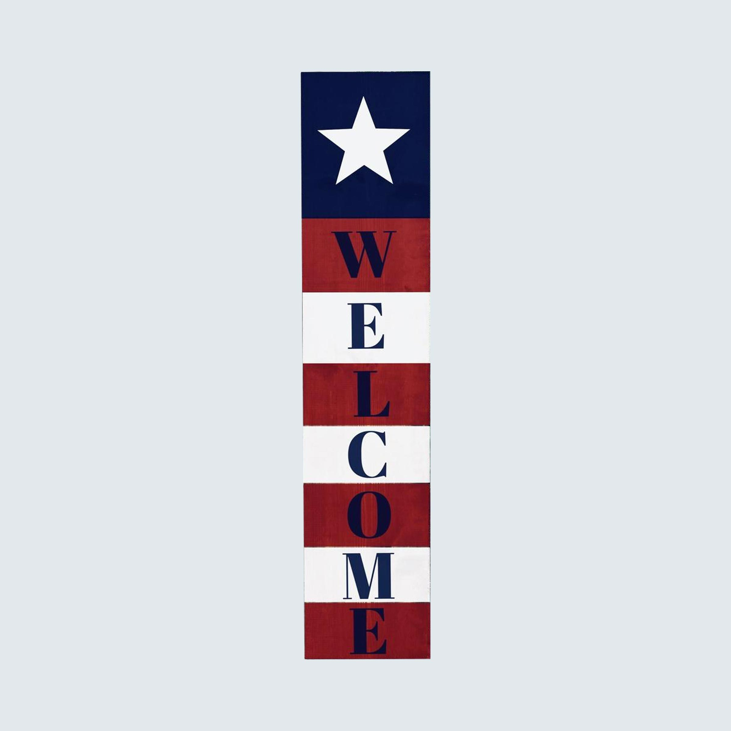Flag-inspired porch sign