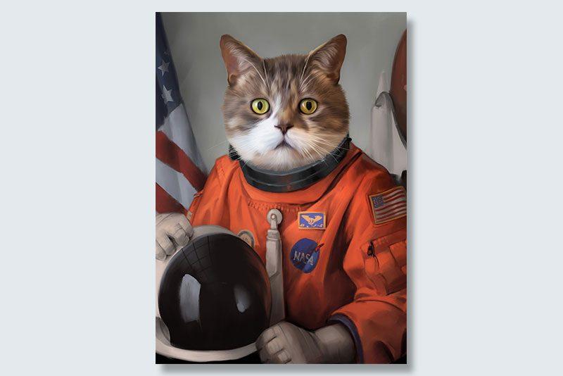 astronaut meow dogeface pet portrait