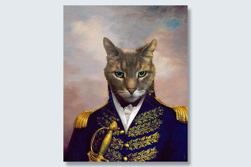 green-eyed prince dogeface pet portrait