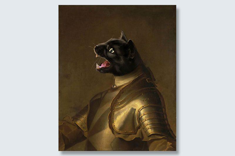 black cat knight dogeface pet portrait