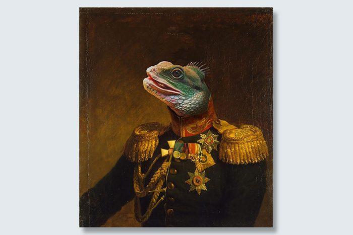 lizard in charge dogeface pet portrait