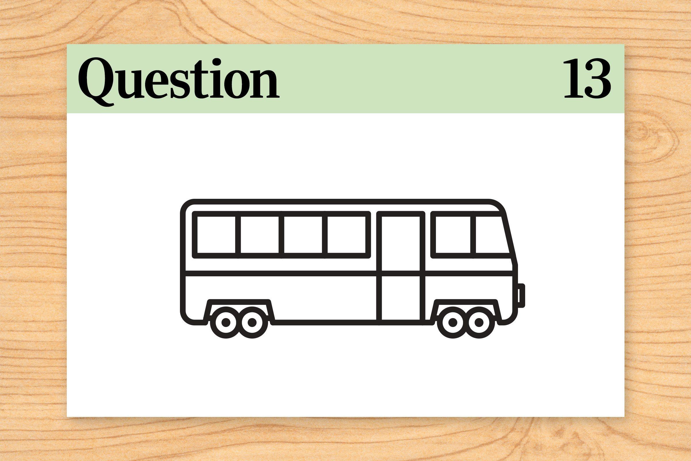 city bus illustration. brain teaser question 13