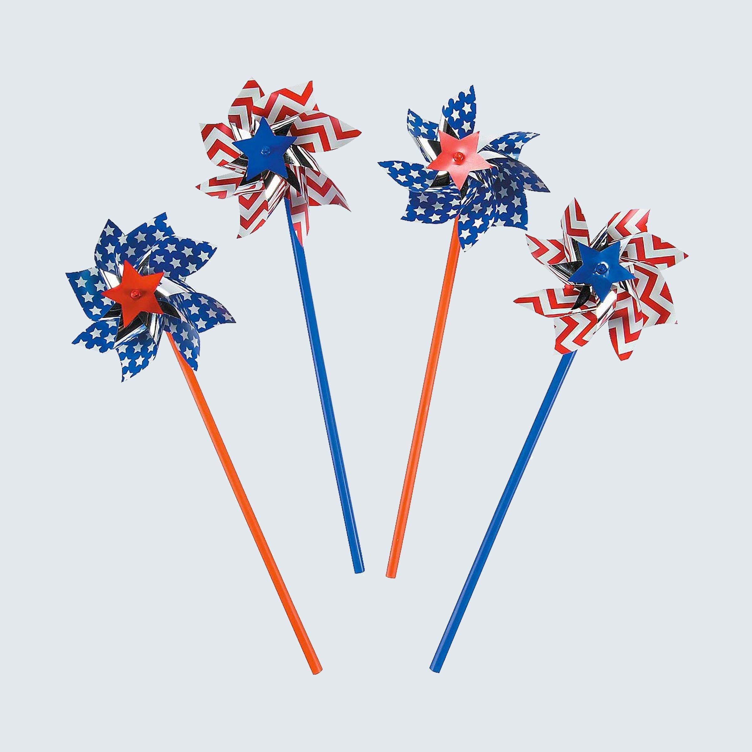 Fun Express American Flag Patriotic Pinwheels, 36 pieces