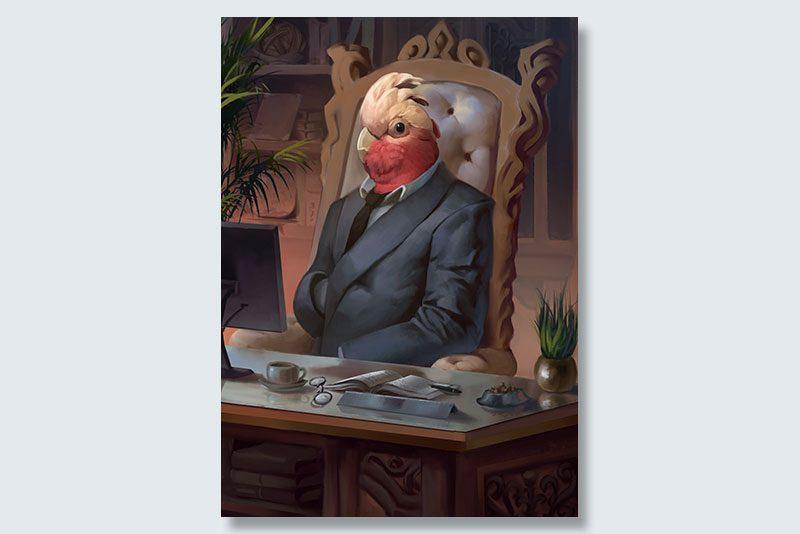 business bird dogeface pet portrait