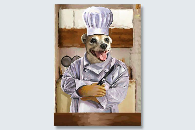 chef wuff dogeface pet portrait
