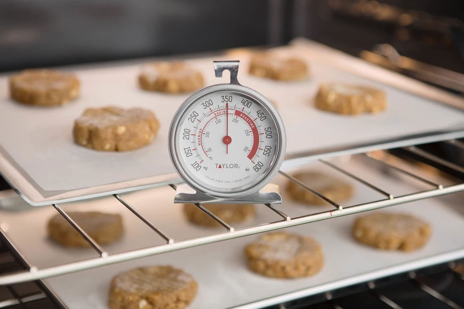 Thermometer in oven with cookies