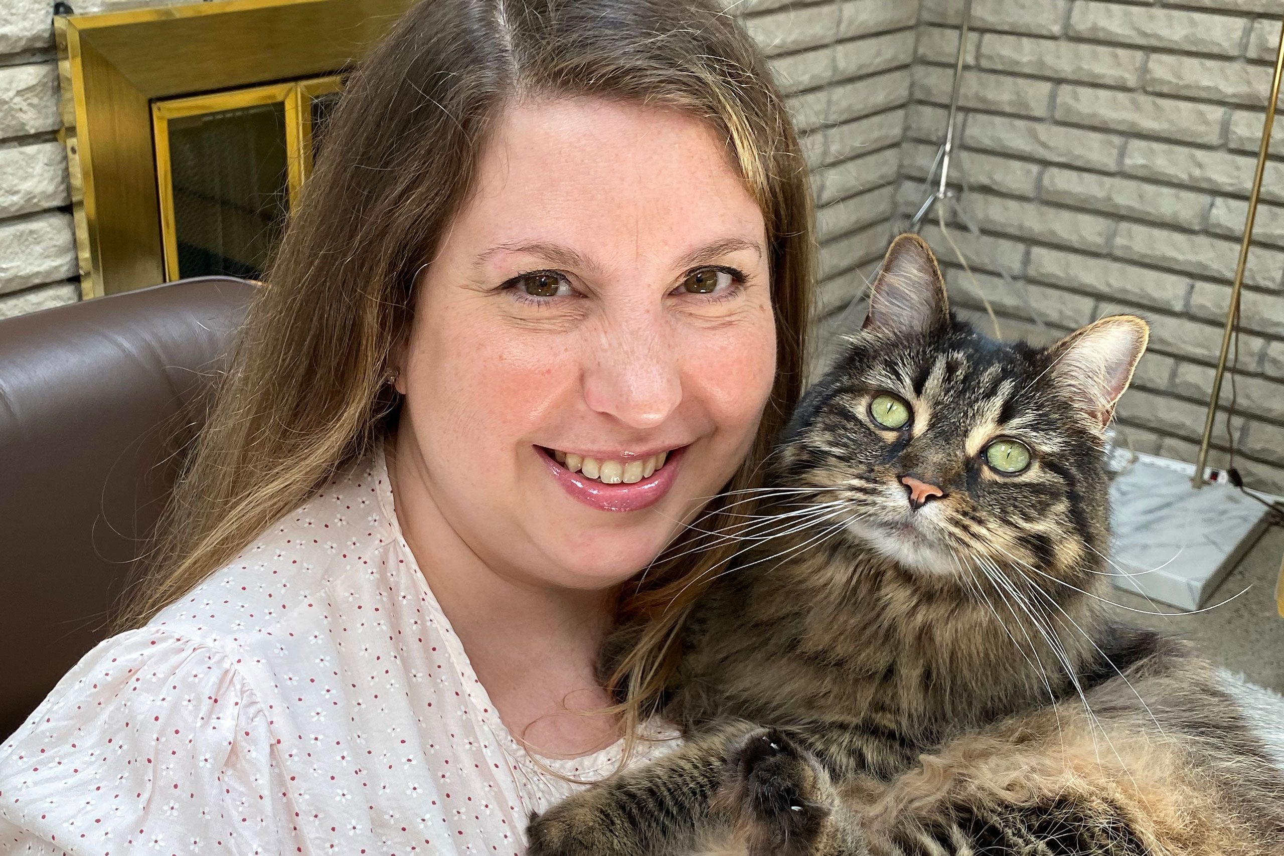 Melisssa Wasilewski and her new cat, Fiona