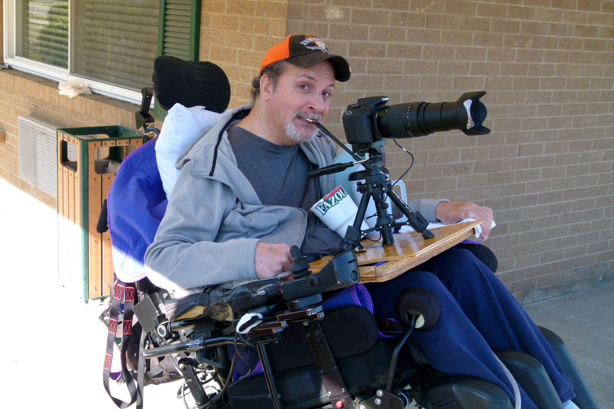 Joe Hall with his specially adapted camera