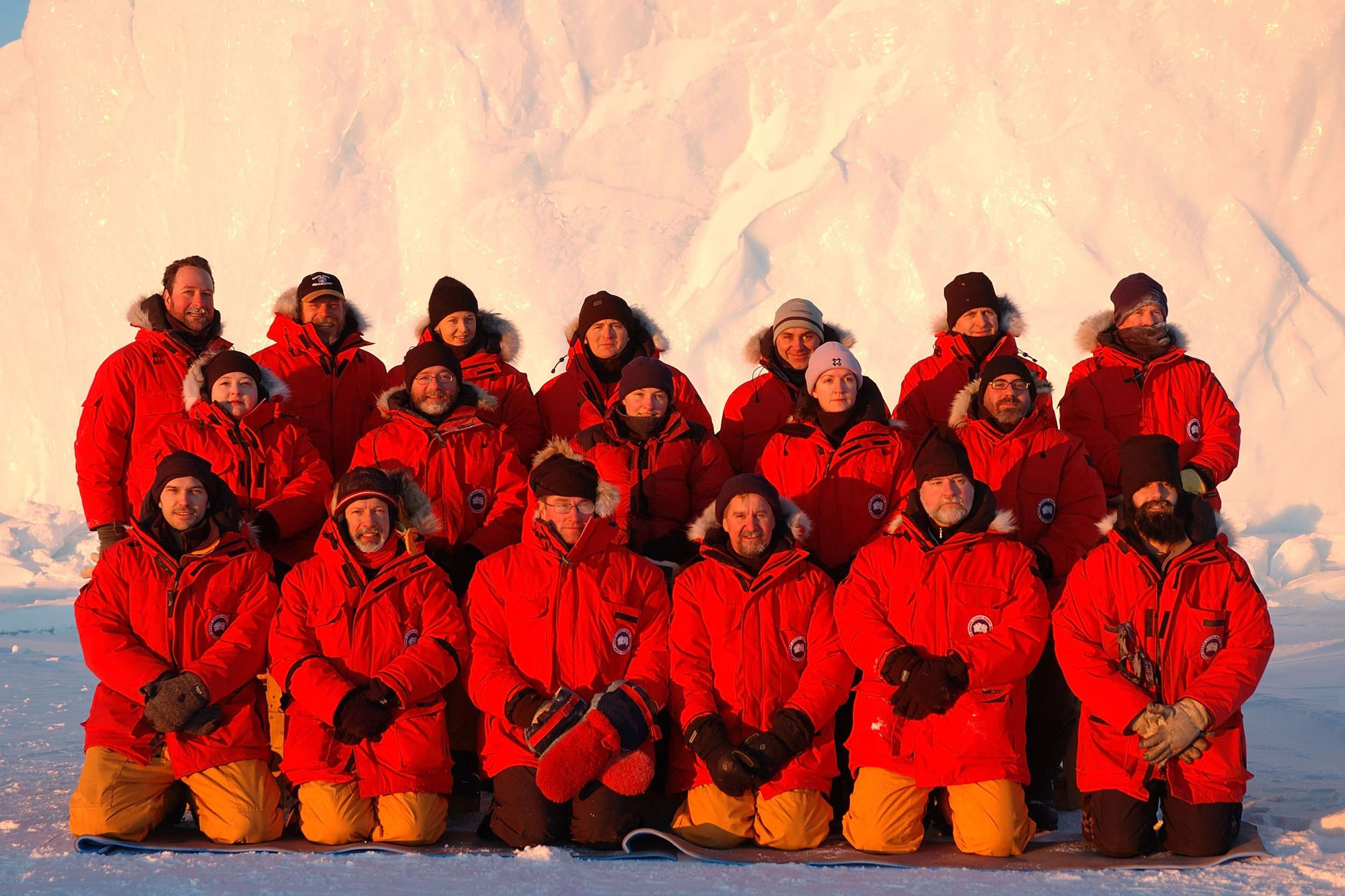 expedition crew in antarctica.