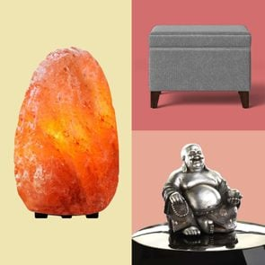 Grid of three items from the article: a crystal, ottoman, and buddha statue