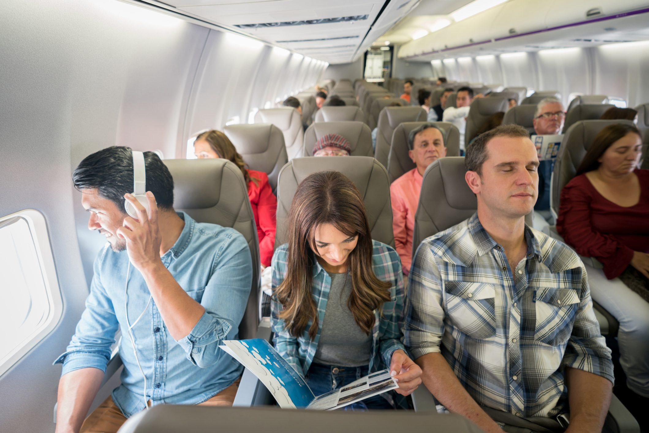 Latin American people traveling by plane